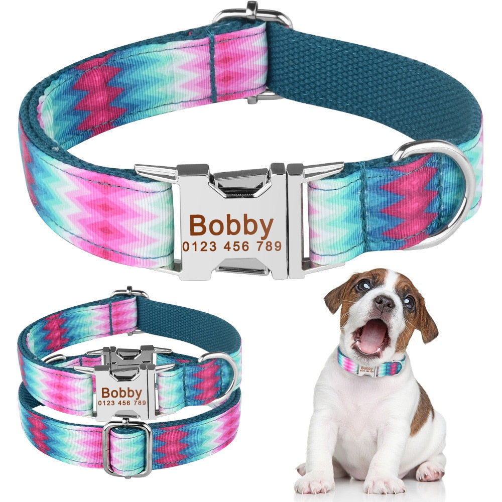 91 AiruiDog Blue Green Personalized Dog Nylon Collar Engraved Pet Name Small Medium Large XS