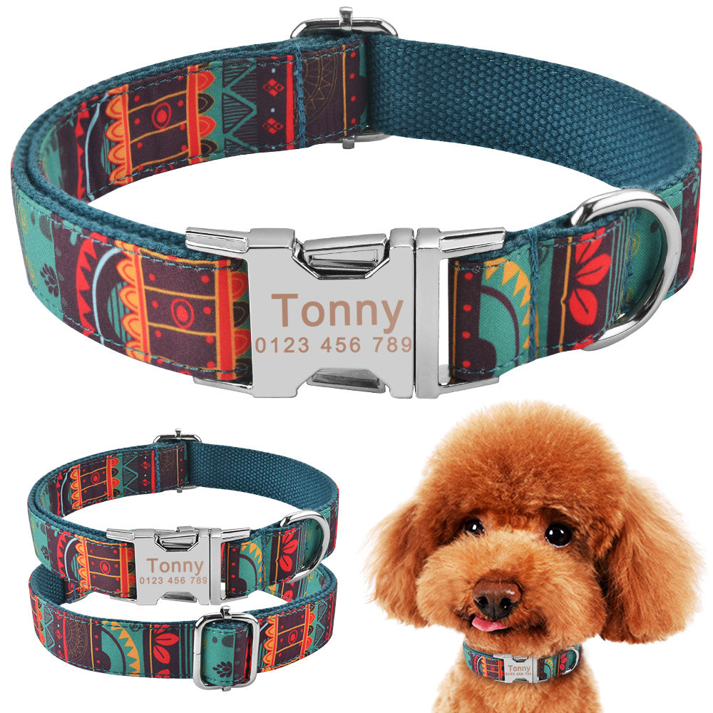 91 Dog Collar Personalized Tribal Style Puppy Name ID Custom Engraved Metal Buckle