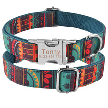 Load image into Gallery viewer, 91 Dog Collar Personalized Tribal Style Puppy Name ID Custom Engraved Metal Buckle
