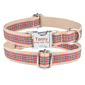 91 Durable Nylon Personalized Dog Collar Custom Engraved Dogs Name On Buckle XS-L