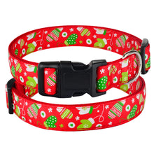 将图片加载到图库查看器,91 Small Medium Large Dog Christmas Dog Collar Pet Puppy Adjustable Nylon Red S-XL