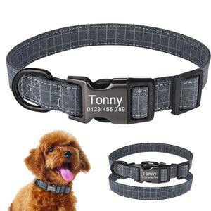 92 Personalized Dog Collar Custom Engraved Puppy ID Name Tag Buckle Gray Collar S-L
