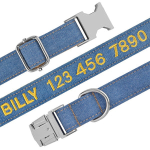 96 Nylon Jeans Cloth Embroidered Solid Color Basic Dog Collar Padded Personalized Custom ID Tag Adjustable Quick Release All Season
