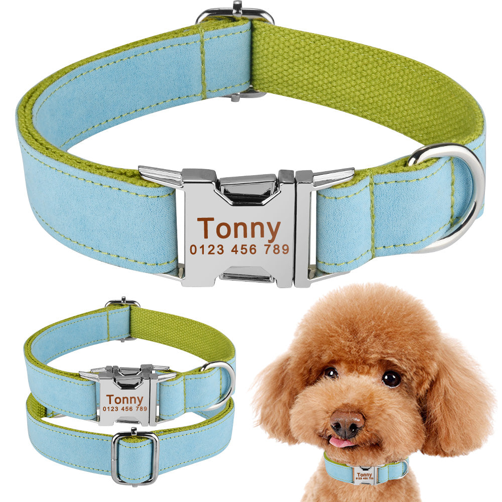 91 Soft Nylon Persoanlized Dog Collar Small Medium Pet Name Tag Free Engravd