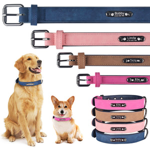 96 Personalized Leather Dog Collar Free Engraved Name ID Puppy Collar Tags XS S M L