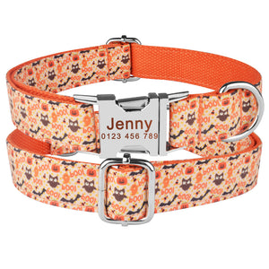 91 Personalized Dog Collar Floral Nylon Small Large Pet Free Engraved Name ID XS-L