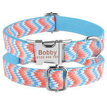 将图片加载到图库查看器,91 Adjustable Dog Collar Personalized Name Engraved Nylon Small Medium Large Dogs