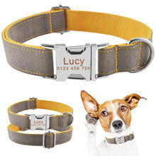 将图片加载到图库查看器,91 Personalized Dog Collar Blue Nylon Free Engraved Pet Dogs Name ID Number Collars