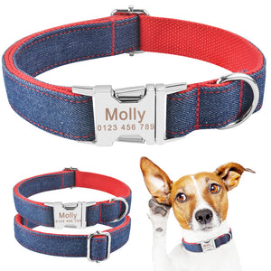 91 Fabric Personalized Dog Collar & Tag Free Engraved ID Name Small Large Pet