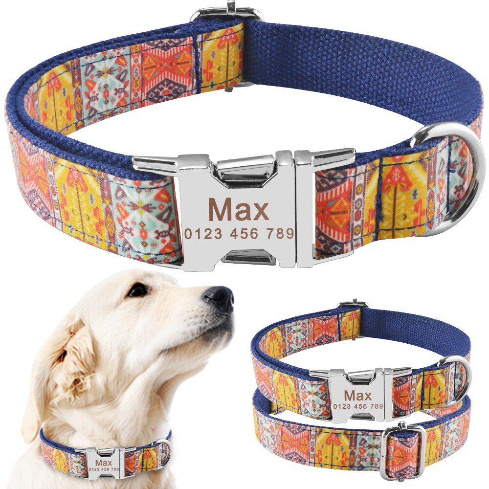 91 Personalized Dog Collar Green Nylon Small Medium Dogs Free Engraved Pet ID Name