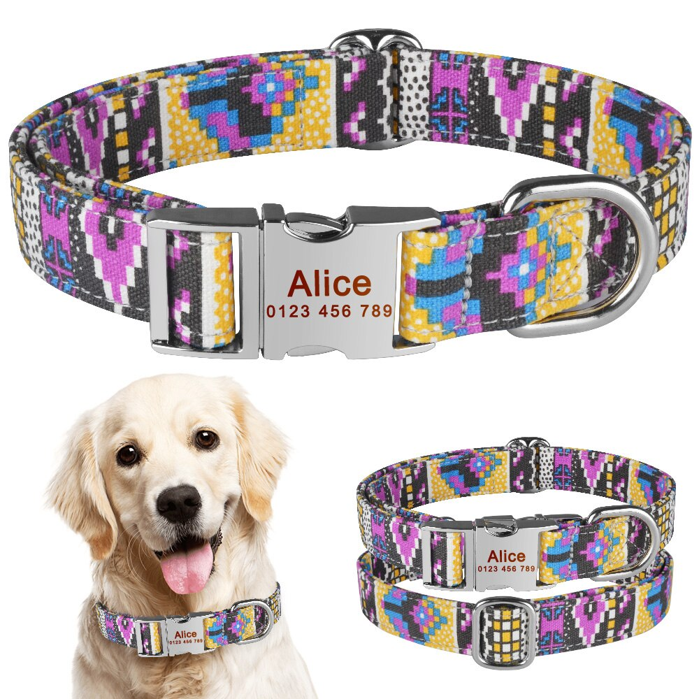 92 Free Engraved Dog Collar Name Personalized Nylon Small Medium Large Dogs Puppy