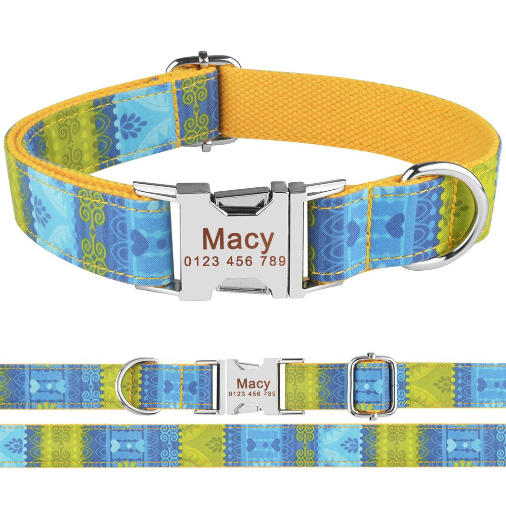 91 Personalized Dog Collar Nylon Puppy ID Name Engraved Small Medium Large Pets