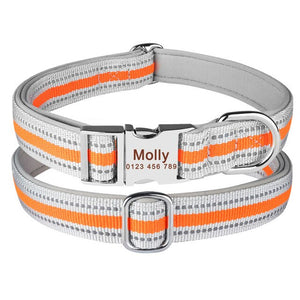 96 Reflective Nylon Ppersonalized Dog Collar Small Large Puppy Name Free Engraved