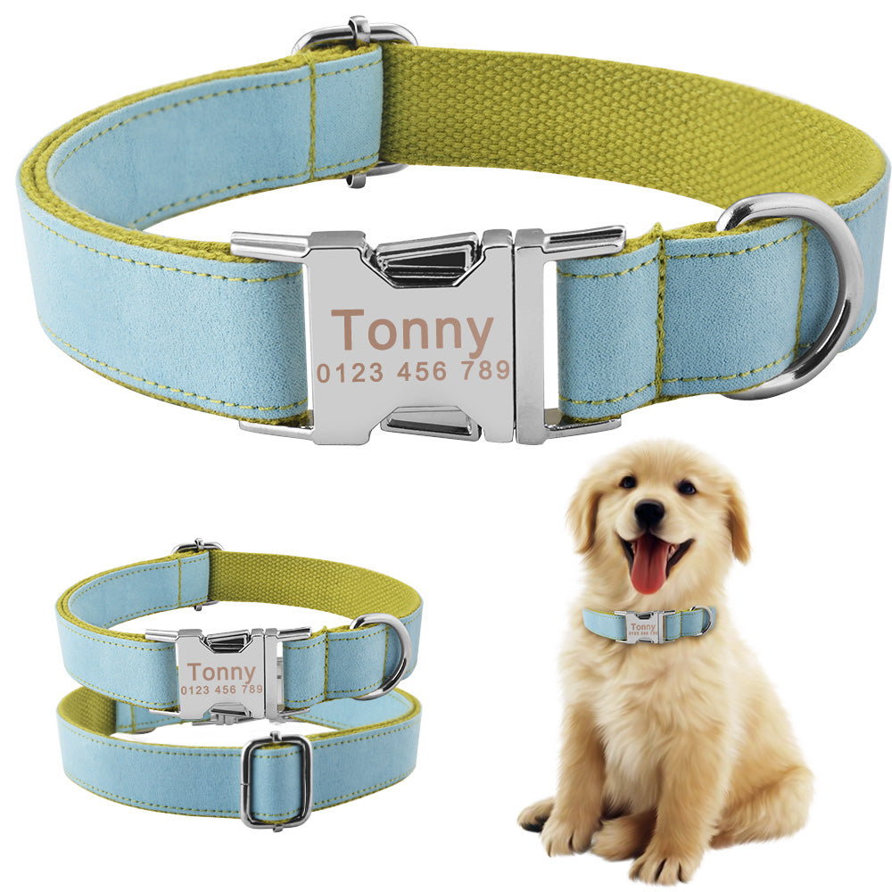 91 Durable Nylon Personalized Dog Collar Free Engraved Dogs Pet ID Name Tag XS-L