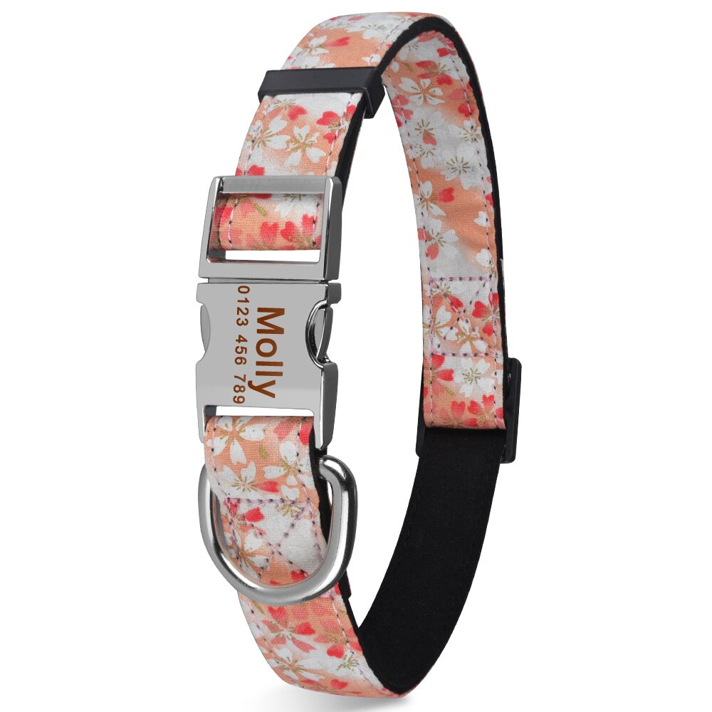 91 Personalized Dog Collar Durable Nylon Floral Custom Engraved Dogs ID Name XS-L