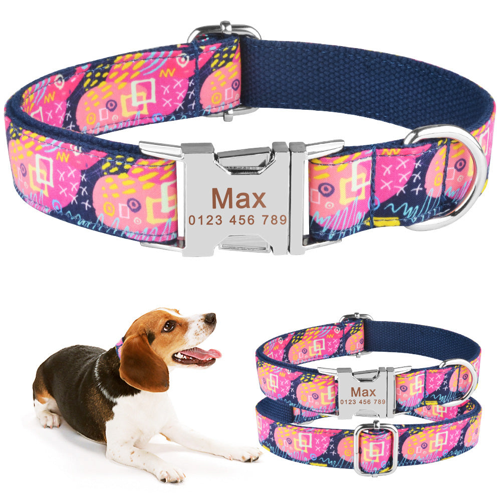 91 High Quality ID Name Personalized Dog Collar Adjustable Nylon Metal Buckle XS-L