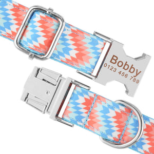 91 Adjustable Dog Collar Personalized Name Engraved Nylon Small Medium Large Dogs