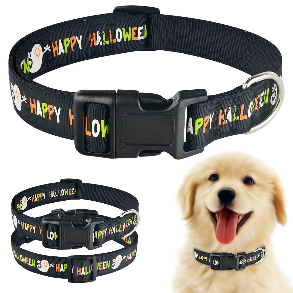 91 Orange Nylon Halloween Dog Collar Small Medium Large Pet Puppy Collar Adjustable