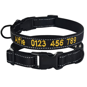 95 Adjustable Nylon Personalised Embroidered Dog Collar Puppy ID Collars Reflective