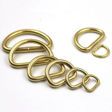 将图片加载到图库查看器,M11 2Pcs Solid Brass D Rings Buckles for Bag Strap Belt Purse Webbing Dog Collar 10-38mm Inner Width Leather Craft DIY Accessories