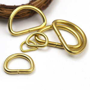 M11 2Pcs Solid Brass D Rings Buckles for Bag Strap Belt Purse Webbing Dog Collar 10-38mm Inner Width Leather Craft DIY Accessories
