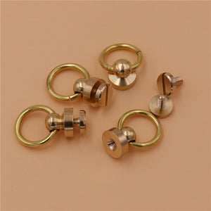 DIY leather craft solid brass screws rivet with o ring handle 10pcs/lot