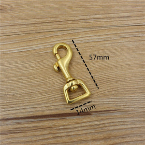 DIY solid brass high quality leather craft backpack snap hook flat botton belt buckle 4pcslot
