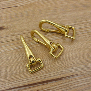 4size solid brass material leather belt hook buckle flat ring DIY bag wallet backpack suicase metal hardware 3pcs/lot