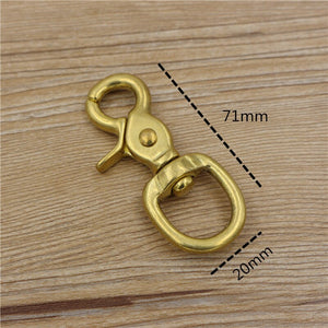 high quality solid brass round lobster design leather craft belt buckle 4 size snap hook buckle 3pcs/lot
