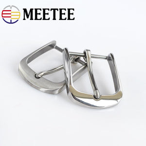 Meetee 40mm Solid Stainless Steel Pin Buckle Brushed Belt Buckle for Men Cowboy Buckle Jeans Accessory DIY LeatherCraft Fit 38mm