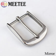将图片加载到图库查看器,Meetee 40mm Solid Stainless Steel Pin Buckle Brushed Belt Buckle for Men Cowboy Buckle Jeans Accessory DIY LeatherCraft Fit 38mm