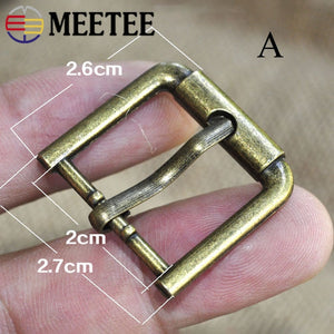 Meetee 5/10pcs ID20mm Metal Pin Bronze Buckle Adjustment Straps Button Handbag Luggage Leather Crafts Hardware Accessories BF502