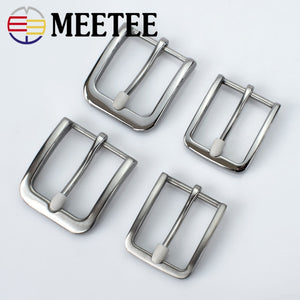 35/40mm Meetee Stainless Steel Mens Belt Pin Buckle for DIY LeatherCraft Cowboy Jeans Waistband Head Clothing Sewing Accessories