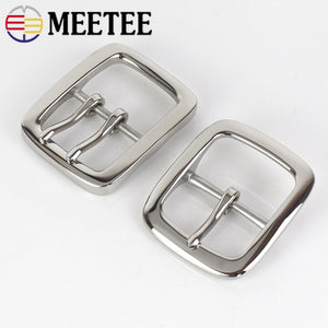 Meetee 1pc 40mm Stainless Steel Single Double Pin Buckles Men's Belt Buckle Head DIY High Quality Hardware Leather Accessories