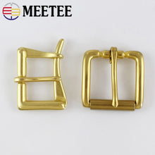 Load image into Gallery viewer, Meetee 3.9cm Wide Belt Buckles Pure Brass Pin Buckle Quick Open Men's Fire Waistband Head Fit 3.6-3.8cm DIY Jeans Leather Craft