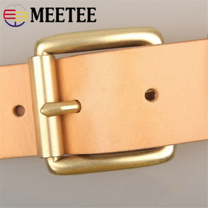 Meetee 3.9cm Wide Belt Buckles Pure Brass Pin Buckle Quick Open Men's Fire Waistband Head Fit 3.6-3.8cm DIY Jeans Leather Craft