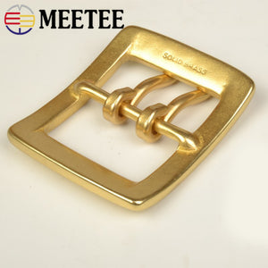Meetee 1Pc 40mm Men Belt Buckles Snap Solid Brass Double Pin Buckle for 37-38mm Waistband Belts Head DIY Jeans Accessories
