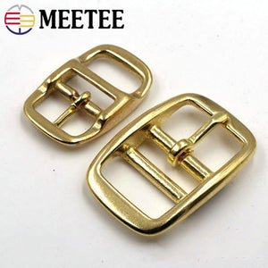 Meetee 2/5pc 16/20/26mm Pure Copper Belt Buckle Metal Brass Pin Buckles Bags Strap Adjustment Hook DIY Leather Decor Accessories