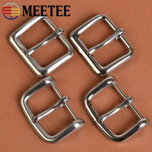 Meetee 1pc/2pcs ID40mm Men Stainless Steel Belt Buckle Needle Belts Head Pin Buckles DIY Leather Crafts Pants Accessory YK078