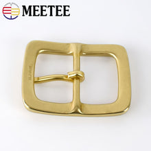 Load image into Gallery viewer, Meetee 40mm Soild Brass Belt Buckles Pure Copper Metal Pin Buckles for Men Jeans Belt Decor DIY Leather Craft Hardware