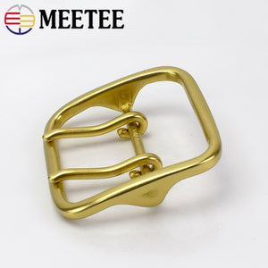 Meetee Solid Brass Metal Buckle Men Women Double Pin Belt Buckles Head for Belts 60mm DIY Leather Craft Jeans Accessories