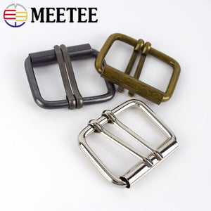 Meetee 4pcs Double Pin Shoes Buckle Inner Size 40mm Adjustable Belt Buckles Luggage Handbag DIY Leather Decorative Accessories