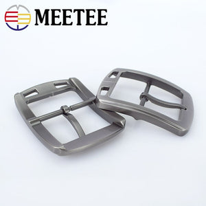 Meetee 38mm Men's Metal Brushed Pin Belt Buckle Head DIY Clothing Decoration Cowboy Buckles Leather Craft Hardware Accessories