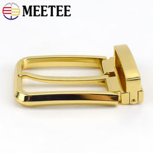 Load image into Gallery viewer, Meetee 35mm Men's Metal Pin Buckle Head Tail Clip Waistband Heads Adjustable Belt Buckles DIY Clothing Accessory Sewing AP059