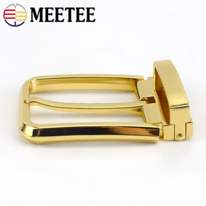 Meetee 35mm Men's Metal Pin Buckle Head Tail Clip Waistband Heads Adjustable Belt Buckles DIY Clothing Accessory Sewing AP059