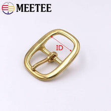 Load image into Gallery viewer, Meetee 1pc/2pcs 16-38mm Pure Brass Belt Buckles Oval Copper Pin Buckle Head DIY Bags Strap Adjust Decor Clasp Accessories YK091