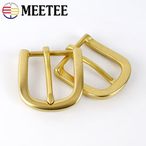 Meetee 30mm Width Pure Brass Belt Buckle for Men Ladies Belt Pin Buckle Head DIY Leather Craft Jean Clothing Decor Accessories