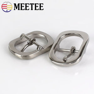 Meetee 1PC Stainless Steel Pin Belt Buckle for 28-30mm Men Women's DIY Leather Craft Hardware Metal Jeans Belts Accessory BD333
