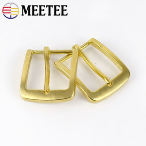 Meetee Solid Brass Metal Belt Buckle Men Women Pin Buckles Head For Waistband 37-38mm DIY Leather Craft Jeans Accessories