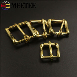 Meetee 2pcs ID13-38mm Pure Copper Pin Buckle Brass Roller Belt Buckles DIY Strap Belts Adjustment Hook Decoration Hardware BF463